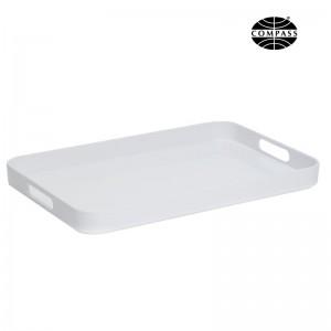 Large White Melamine Tray with Handles