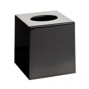 Matt Black Cube Tissue Box Holder