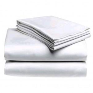 Commercial White Flat Sheet 250 Thread 5050 PolyCotton 187 x 306 Single