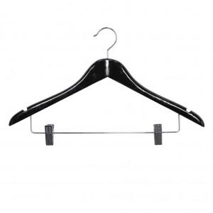 Black Female Standard Coat Hanger with Skirt Clips