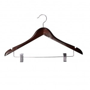 Dark Wood Female Luxury Coat Hanger with Skirt Clips