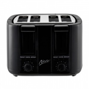 Nero Black Toaster 4 Slice 1500W Square