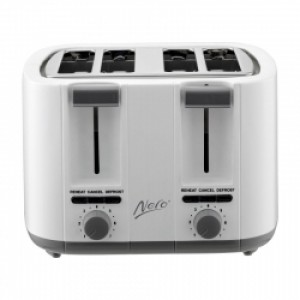 Nero White Toaster 4 Slice 1500W Square