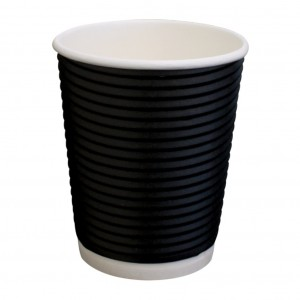 Paper Hot Cup Triple Wall 245ml 8oz Twist Black 500