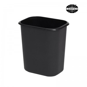 14L Rectangle Black Plastic Waste Bin