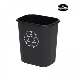 14L Rectangle Black Plastic Recycle Bin
