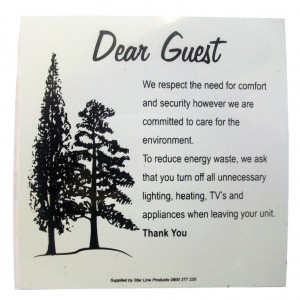 Dear Guest Save Electricity sign PVC 105x105 wall mount