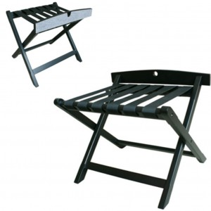Black Wooden Luggage Rack with back