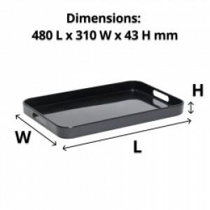 Large Black Melamine Tray with Handles