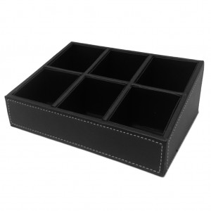 Black Faux Leather 6 Compartment Display Tray