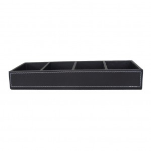 Black Faux Leather 4 Compartment Display Tray