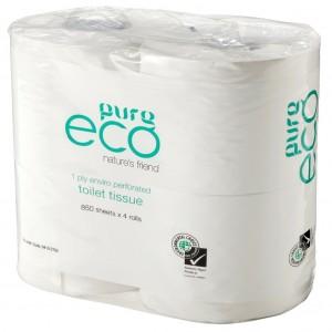 PureEeco Toilet Tissue 1 Ply 850sh