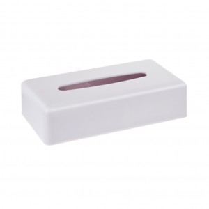 White Plastic Rectangle Tissue Box Holder