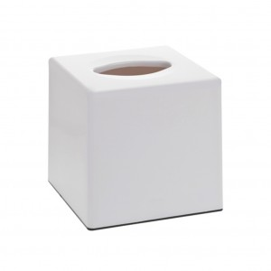 Cube White Plastic Tissue Box Holder