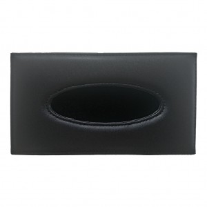 16767_Black Leather Rectangle Tissue Box