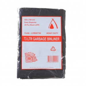 73L Black Rubbish Bags 920x760mm