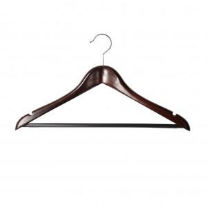 Dark Wood Male Luxury Standard Coat Hanger with Rail