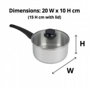 20cm S/S Saucepan with Glass Lid