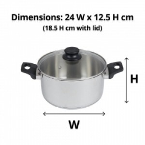 24cm S/S Stock Pot with Glass Lid