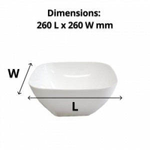 Salad Bowl White Plastic 260mm Square
