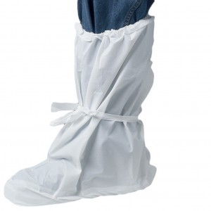White Disposable Overboot with Elastic Top & Mid Tie 100 pairs
