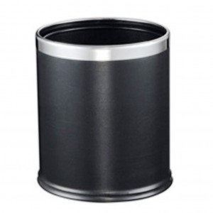 10L Round Leatherette Dual Layer Bin Black 255dx270mmh