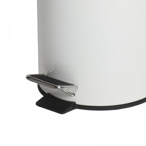 12L White Powder Coated Pedal Bin