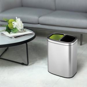 10L Rectangular S/S Recycling Bin Silver