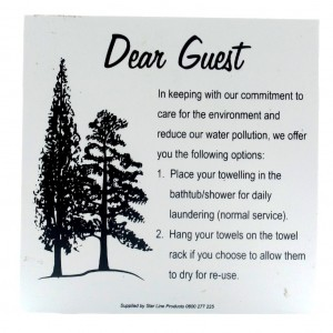 Dear Guest Towel Sign PVC 105x105 wall mount 1