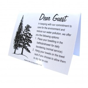 Dear Guest Towel Sign 95x70 PVC Tent 1