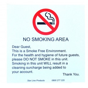No smoking Will charge PVC 105x105 wall mount sticky back 1