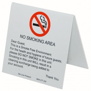 No Smoking Will Charge Pvc 105x105 Tent 1