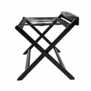 Black Wooden Luggage Rack With High Back