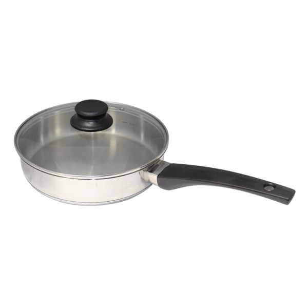 24cm S S Frying Pan With Glass Lid Starline Group