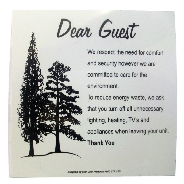 Dear Guest Reduce Energy Waste Sign Pvc Other Guest Info